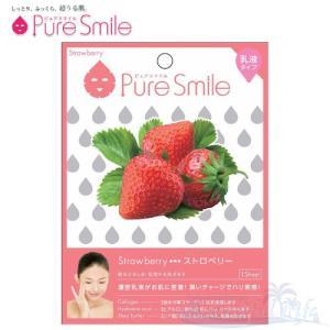 Pure Smile エッセンスマスク 乳液タイプ Strawberry/ストロベリー(苺) 【ピュアスマイル 乳液フェイスマスク 1枚】|shop-beautiful-life