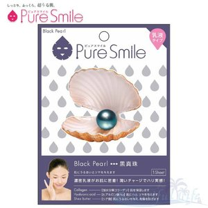 Pure Smile エッセンスマスク 乳液タイプ Black Pearl/ブラックパール(黒真珠) 【ピュアスマイル 乳液フェイスマスク 1枚】|shop-beautiful-life