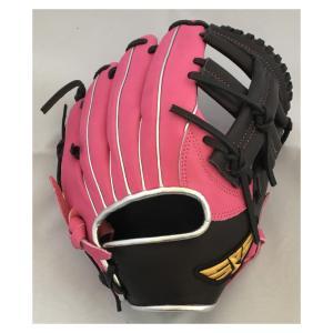 SPS 本革グローブ 小さめサイズ 9006 ピンク×ブラック 10インチ 小学1-4年生程度の女の子用 軟式グローブ 女の子 shop-beautiful-life