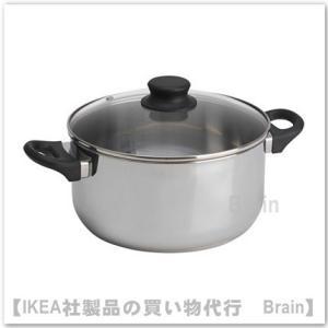 IKEA/イケア ANNONS 鍋 ふた付き5 L ガラス/ステンレススチール
