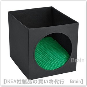 IKEA/イケア LURVIG キャットハウス クッション付き33x38x33 cm ブラック/グリーン|shop-brain