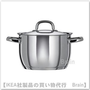IKEA/イケア OUMBARLIG  鍋 ふた付き5L ステンレススチール