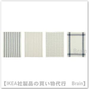 IKEA/イケア ELLY キッチンクロス50x65 cm 4枚セット ホワイト/ブルー