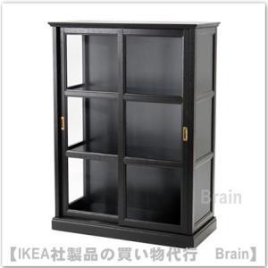 IKEA/イケア MALSJO ガラス扉キャビネット  ブラックステイン|shop-brain