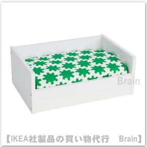 IKEA/イケア LURVIG ペットのベッド クッション付き31x46 cm ホワイト/グリーン|shop-brain