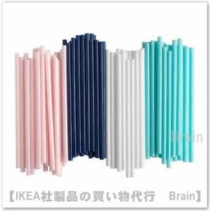 IKEA/イケア SOTVATTEN ストロー 100本セット ピンク/ダークブルー/ホワイト/ターコイズ|shop-brain