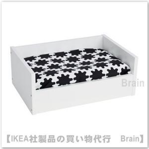 IKEA/イケア LURVIG ペットのベッド クッション付き31x46 cm ホワイト/ブラック|shop-brain