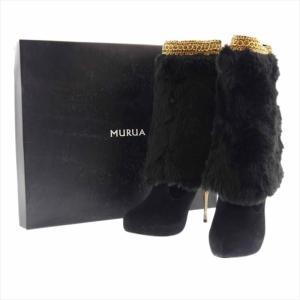 展示品 ムルア 2way ブーツ フェイクファー ブラック×ブラック|shop-brandreshopfuji