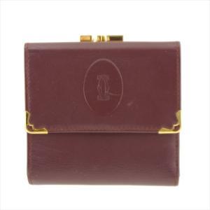 カルティエ 二つ折り財布 レザー がま口 ボルドー|shop-brandreshopfuji