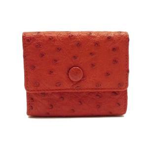 美品 ベルサ オーストリッチ 二つ折り財布 Wホック レッド|shop-brandreshopfuji
