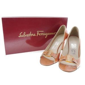 フェラガモ パンプス パテントレザー オレンジ 6C 靴|shop-brandreshopfuji