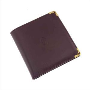 カルティエ 二つ折り財布 ボルドー メンズ|shop-brandreshopfuji