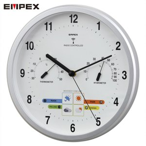 「エンペックス気象計」ウェザーパル アナログ電波時計(1台4役) BW-878 シャインシルバー(お天気時計) (日本製)|shop-e-zakkaya
