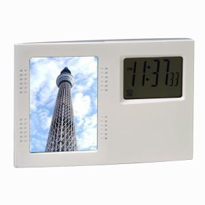「多機能時計」フォトスタンドクロック D2412(時計付フォトフレーム)(ギフト)(包装無料)