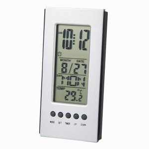 「多機能時計」デスクオンスリムクロック 6102-16 (温度計付時計)|shop-e-zakkaya