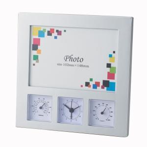 「多機能時計」ワイドフォトクロックサーモ6114(フォトフレーム付時計)(ギフト)(包装無料)|shop-e-zakkaya