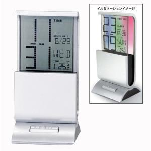 「多機能時計」トリプルネオンカレンダークロック663-14(温度計付時計)(ギフト)(包装無料)|shop-e-zakkaya