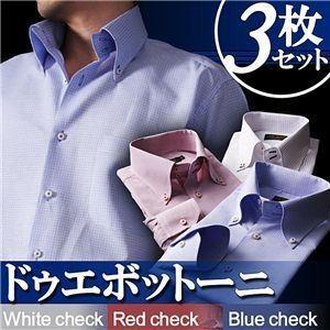 ワイシャツ3枚セット〔Giorno〕S カラーステッチ ドゥエボットーニ ボタンダウンシャツ3枚セット カラー(ホワイト・レッド・ブルーチェック) 〔Giorno ジ...|shop-easu01