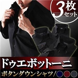 ワイシャツ3枚セット〔Notte〕S カラーステッチ ドゥエボットーニ ボタンダウンシャツ3枚セット ブラック(ネイビー・ワインレッド・シルバーグレーステッチ...|shop-easu01
