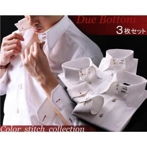 ワイシャツ3枚セット S カラーステッチドゥエボットーニスナップダウンシャツ〔ハンドステッチ〕3枚セット ホワイト(ワインレッド・ネイビー・チャコールグ...|shop-easu01