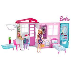 バービーと一緒にかわいいピンクのプールハウスで遊ぼう! セットにはバービーも含まれています。カラフル...