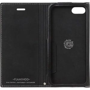 Natural Design iPhone 8/7ケース 手帳型 FLAMINGO Carbon SilverxBlack 横開き レザー調|shop-frontier