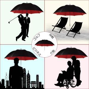 ジュンリュウ 長傘 二重構造 ゴルフ用長傘 大きな傘 紳士傘 耐風傘 丈夫 耐風 超撥水 ビジネス用車用 晴雨兼用 大きいお出迎え傘 ジャン shop-frontier