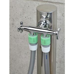 カクダイ ガーデン用双口水栓 704-127-13|shop-frontier