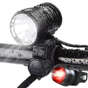 AUOPRO LED自転車ライト USB充電式 IPX-6防水 1200ルーメン 超高輝度 CREE XM-L2 4400mAhバッテリー|shop-frontier