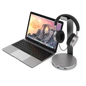 Satechi アルミニウム USBヘッドホンスタンド USB3.0 ポートx3と3.5mmAUXポ...