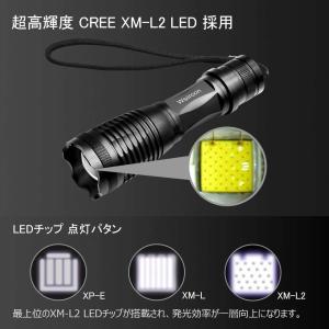 Wsiiroon LED 懐中電灯 XM-L2 強力 軍用 超高輝度 ハンディライト 電池付き ズー...