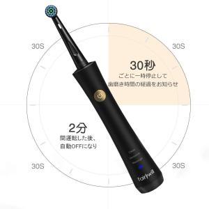 電動歯ブラシ歯ブラシFairywill回転式歯ブラシ充電式ブラックIPX7防水24時間がかかって14...