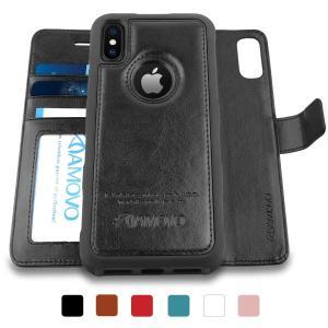 AMOVO iPhone XS ケース 手帳型 iPhone X 手帳ケース 分離式 取り外し自由 カード収納 横開き スタンド アイフォン|shop-frontier