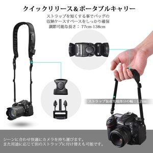 Tycka 速写ストラップ カメラネックストラップ 滑り止め&通気性の高い&汗止め&人間工学に基づいたパッド クイックリリース DSLR、ヘ|shop-frontier