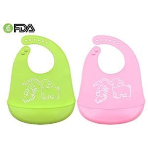 ベビー 食品グレードシリコーン ビブ 2枚組 食事用 超柔らかい 防水抗菌 赤ちょん 幼稚園 高品質 無味無臭 FDA&BPA認証 洗いやす|shop-frontier