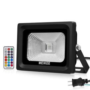 MEIKEE 改良版RGB投光器 16色切り替え可能 舞台照明ledフラッドライ リモコン付き 360°コントロールでき ACプラグ付き、|shop-frontier