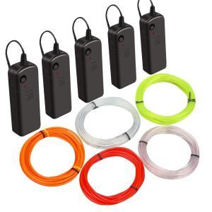 ネオンワイヤー ネオンライト ロープライト ライトワイヤー ELワイヤー 発光EL 電池式 LED飾り ライトセット 点灯/点滅機能 屋外照|shop-frontier