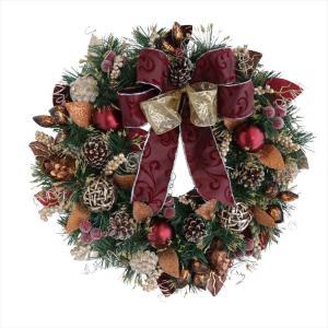 彩か SAIKA クリスマス リース 金 白 ゴールド ホワイト デコレーション 飾り Red Fold Ribbon Wreath PXT shop-frontier