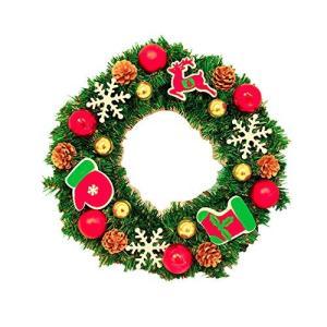 ANION40cm クリスマスリース 電池式 電飾 付き 花 リボン 飾り オーナメント クリスマス...