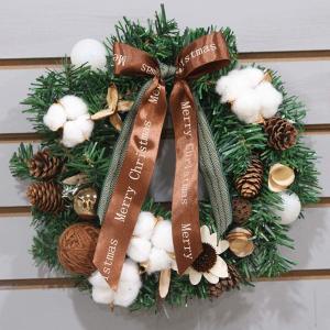 Cnstone クリスマスリース 直径約40cm フラワー まつぼっくり 木の実 ボール リボンクリスマス リース ギフト 玄関リース クリ shop-frontier