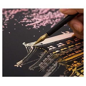 MissOrange スクラッチアート 世界の景色 夜景 スクラッチペン 刷毛 2本指グローブ セット おしゃれ 絵画 お絵かき 趣味 癒し|shop-frontier