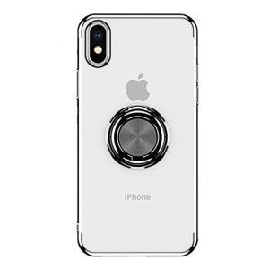 iPhone Xr ケース クリア リング付き OURJOY iphonexr ケース ストラップホール付き 耐衝撃 メッキ マグネット式|shop-frontier