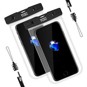 防水ケース スマホ用 携帯防水ケース YOSH IPX8認定 2枚セット iPhone/Android 6インチ以下全機種対応 サイドのボタ|shop-frontier