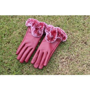 手袋の両手女性のスマートフォン暖かさとかわいいウサギの毛皮の毛 暖かい防風手袋 (レッド)|shop-frontier