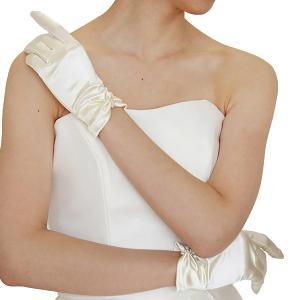 ウエディング グローブ ショート オフホワイト アイボリー ブライダル リボン風装飾G78-O|shop-frontier