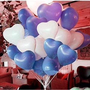 ハート 型風船 ハートバルーン 約100個 空気入れ ポンプ ピンクの リボン 3点セット 結婚式 イベント セレモニー (青50個&白50|shop-frontier