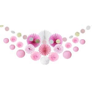 SUNBEAUTY ペーパーファン 紙提灯 ペーパーフラワー ガーランド 結婚式 誕生日 飾り付けセット 写真背景 (ピンク系)|shop-frontier