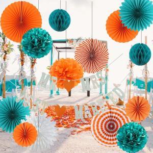 Easy Joy 結婚式飾り付けセット 15点入 ウェディングガーランド インテリア 写真背景 前撮り道具 オレンジ&グリーン|shop-frontier