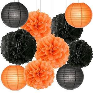 ハロウィン 飾り付け Halloween パーティー 飾り ペーパーポンポン ペーパーフラワー 紙提灯 セット オレンジ ブラック|shop-frontier
