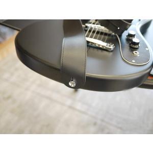 SYMPHA 無地PUレザー ギターストラップ/アコースティックギター エレキギター ストラップ 黒